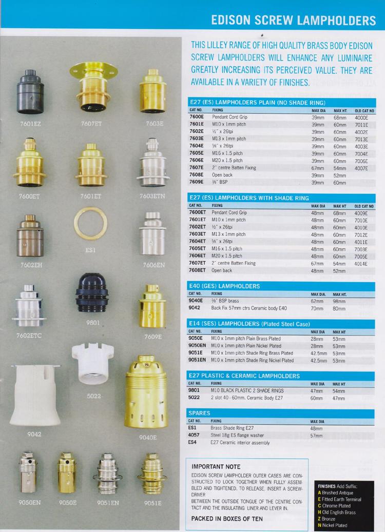Spezialelectric Artikelubersicht Lampenfassungen E40
